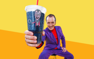 Gallospole & his Puppet on a Soda Cup